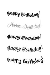 Happy birthday vintage hand lettering, brush ink calligraphy, vector type design, isolated on white background. Black and white. Handwritten modern brush lettering of Happy Birthday.