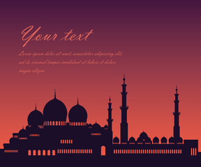 Vector silhouette of a mosque, Muslim Palace