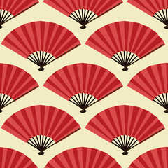 Seamless pattern with fans, Japanese fans
