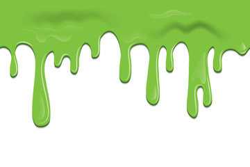 Vector seamless frame with slime, flowing down paint