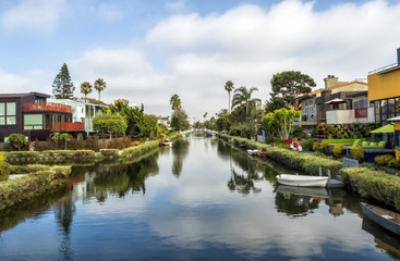 Venice Canals, original colorful houses - Venice Beach, Los Angeles, California, USA