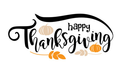 Happy Thanksgiving text design. Lettering with pumpkins and leaves for happy Thanksgiving. EPS 10 vector.