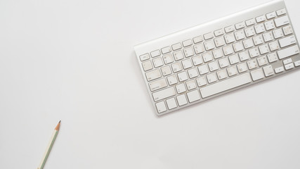 Wall Mural - Office desk table with keyboard Top view