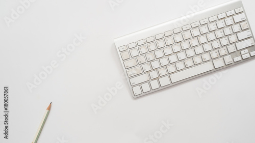 Wall mural Office desk table with keyboard Top view