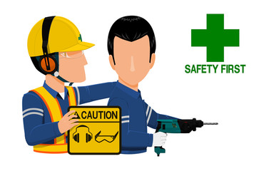 A worker is warning his friend about wearing personal protective equipment during  operating the drill machine