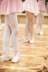 Closeup of Young Ballet Dancers in a Ballet School
