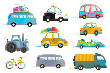 Transportation vehicles collection isolated objects. Vector illustration.
