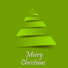 Christmas greeting card. Yellow christmas tree background. Vector