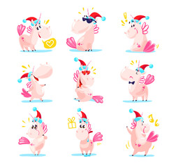 Vector illustration of cute unicorns in santa hat