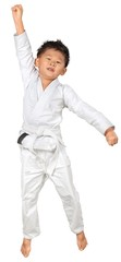 Asian Little Karate Boy in White Kimono on white background