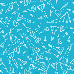 seamless pattern with laboratory equipment on a blue background. Can be used for paper print, wallpapers, web design or textile.