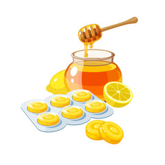 Cough drops. Sore throat remedy, package of yellow lozenges, lemon and honey. Vector illustration cartoon flat icon isolated on white.