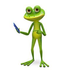 3d Illustration Frog and Smartphone
