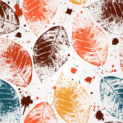 Seamless pattern with colored autumn leaves and blots. EPS 10 vector illustration