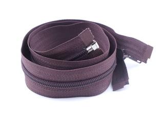 brown zipper on white background