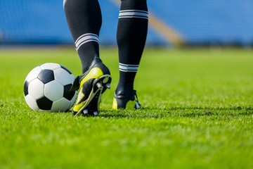 Closeup of a Soccer Player Legs in Action