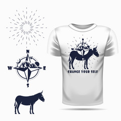 t-shirt design with Vector donkey silhouette view side and compass