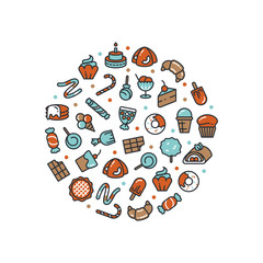 Sweet desserts and candies icons round concept