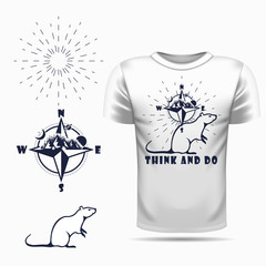 t-shirt design with Vector rat silhouette view side and compass