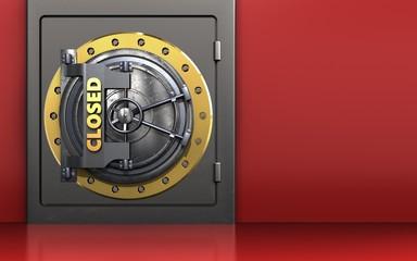 3d metal safe closed vault door