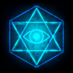 glowing blue Eye of providence in the center of the hexagram is a maxim in sacred geometry or hermeticism background. vector illustration.