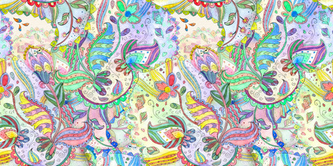 colorful seamless texture with fantasy pattern. watercolor painting