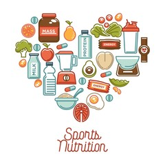 Fitness food and sports healthy diet nutrition products supplements vector heart poster