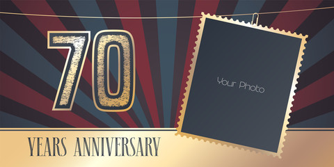 70 years anniversary vector emblem, logo in vintage style