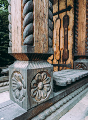 Traditional engraved wooden architecture detail