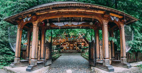 Traditional engraved wooden architecture porch