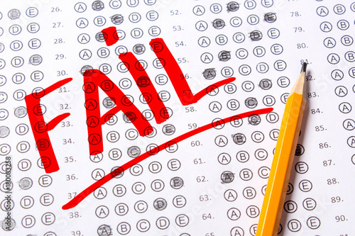 Incorrect Negatively Passed Test Fail Blank Multiple Choice Answer Sheet Filled With Pencil