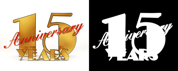"""Golden number fifteen (number 15) and the word """"years"""" against the backdrop of the prospect of greeting text. 3D illustration"""