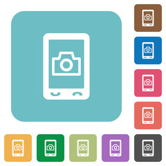 Mobile photography rounded square flat icons