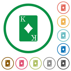 King of diamonds card flat icons with outlines