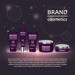 3D realistic cosmetic bottle ads template. Cosmetic brand advertising concept design with glitters and bokeh background