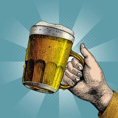Beer drink,hand holding beer mug,Background for Party
