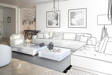 Raumgestaltung: Sitzgarnitur (Skizze)