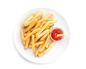 Plate with yummy french fries and sauce on white background