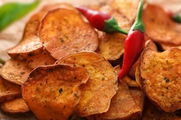Yummy sweet potato chips, closeup