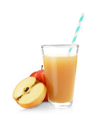Glass with fresh apple juice on white background