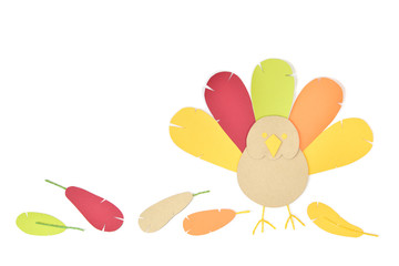 Thanksgiving turkey paper cut on white background - isolated