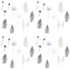 Meadow grasses, flowers, herbs and fern leaves floral vector seamless pattern.