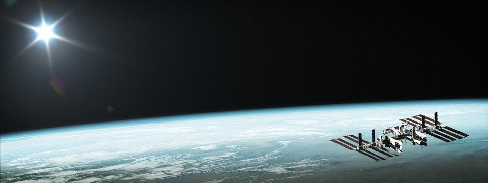 International Space Station, satellite, orbiting