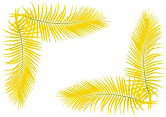feuilles jaunes de palmier en coin de page