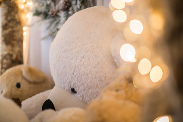 christmas lights blur and white teddy bears lays indoor with pine cone in the background. seasons concept
