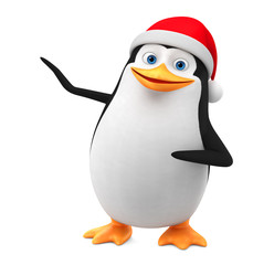 New Year. Penguin in a red cap indicates a blank space on a white background. 3d render illustration.