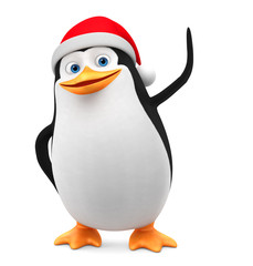Penguin in a red cap indicates a blank space on a white background. 3d render illustration. New Year.