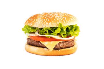 Hamburger sous fond blanc
