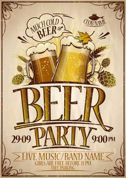 Beer party poster design concept