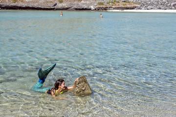 Black hair Mermaid portrait on the beach